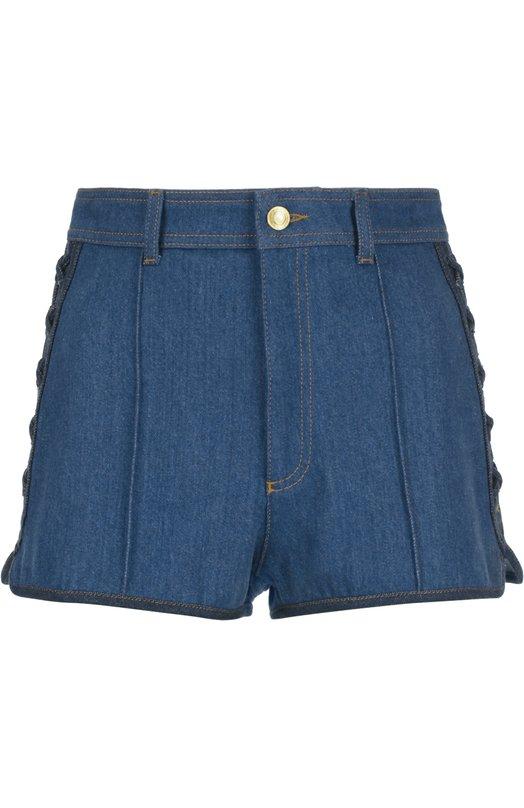 Джинсовые мини-шорты со шнуровкой Alexander McQueen 407572/QGM01