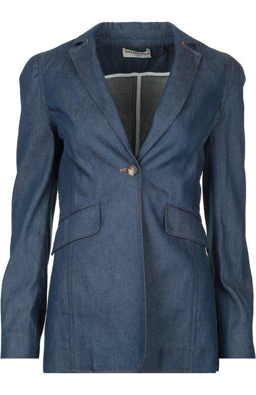 Жакет джинсовый BalenciagaЖакеты<br>Однобортный джинсовый жакет с двумя карманами вошел в весенне-летнюю коллекцию бренда, основанного Кристобалем Баленсиагой. Приталенная модель с длинными рукавами сшита из мягкого голубого хлопка. Рекомендуем носить с черным топом, короткой юбкой в тон и темными босоножками.<br><br>Российский размер RU: 42<br>Пол: Женский<br>Возраст: Взрослый<br>Размер производителя vendor: 38<br>Материал: Хлопок: 100%;<br>Цвет: Голубой
