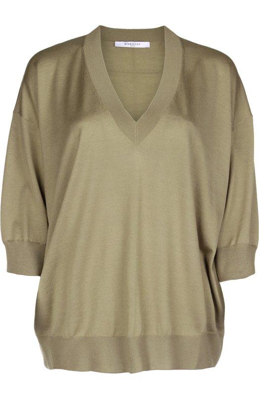 Пуловер вязаный GivenchyСвитеры<br><br><br>Российский размер RU: 42<br>Пол: Женский<br>Возраст: Взрослый<br>Размер производителя vendor: S<br>Материал: Шерсть: 70%; Шелк: 30%;<br>Цвет: Бежевый