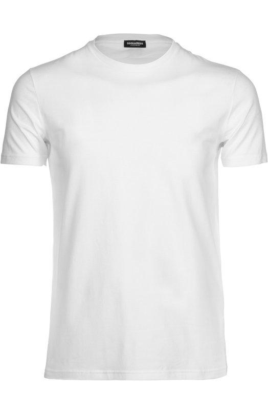 Футболка Dsquared2Футболки<br>При создании футболки с короткими рукавами и круглым вырезом мастера марки использовали мягкий эластичный хлопок белого цвета. Нам нравится сочетать модель из весенне-летней коллекции 2016 года с синими джинсами и белыми кедами.<br><br>Российский размер RU: 54<br>Пол: Мужской<br>Возраст: Взрослый<br>Размер производителя vendor: XXL<br>Материал: Хлопок: 94%; Эластан: 6%;<br>Цвет: Белый