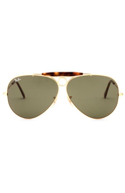 Солнцезащитные очки Ray-BanОчки<br>Солнцезащитные очки Shooter дополнены зелеными стеклами, произведенными по технологии G-15, обеспечивающей полное блокирование ультрафиолетового и инфракрасного излучения. Оправа с тонкими дужками создана из полированного легкого металла и прочного пластика, имитирующего панцирь черепахи.<br><br>Пол: Мужской<br>Возраст: Взрослый<br>Размер производителя vendor: NS<br>Цвет: Бесцветный