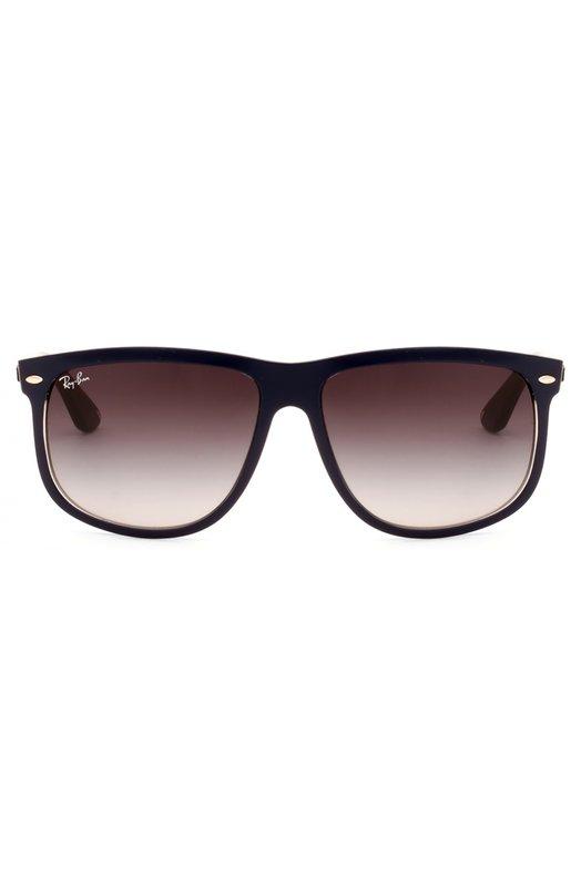 Солнцезащитные очки Ray-BanОчки<br>Солнцезащитные очки дополнены градиентными стеклами коричневого цвета. Для производства оправы мастера марки использовали прочный непрозрачный пластик черного цвета. Дужки декорированы выгравированным логотипом бренда.<br><br>Пол: Мужской<br>Возраст: Взрослый<br>Размер производителя vendor: NS<br>Цвет: Бесцветный