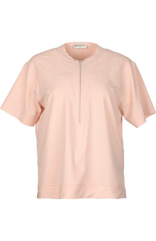 Топ прямого кроя с вырезом на молнии BalenciagaТопы<br>Розовый топ с короткими рукавами и круглым вырезом вошел в весенне-летнюю коллекцию бренда, основанного Кристобалем Баленсиагой. Модель с функциональной молнией спереди и разрезами по бокам сшита из тонкого эластичного джерси.<br><br>Российский размер RU: 48<br>Пол: Женский<br>Возраст: Взрослый<br>Размер производителя vendor: L<br>Материал: Полиамид: 90%; Эластан: 10%;<br>Цвет: Розовый