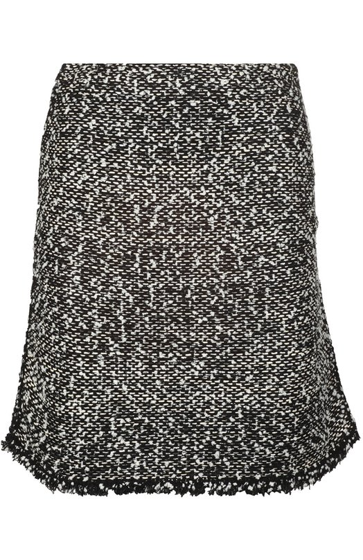 Буклированная мини-юбка с бахромой BalenciagaЮбки<br>Мастера марки создали мини-юбку с короткой бахромой из мягкого твида с добавлением серебряной люрексовой нити. Модель А-силуэта из весенне-летней коллекции бренда, основанного Кристобалем Баленсиагой, застегивается на потайную боковую молнию.<br><br>Российский размер RU: 46<br>Пол: Женский<br>Возраст: Взрослый<br>Размер производителя vendor: 40<br>Материал: Акрил: 7%; Шелк: 49%; Хлопок: 26%; Полиамид: 17%; Полиэстер: 1%;<br>Цвет: Черный