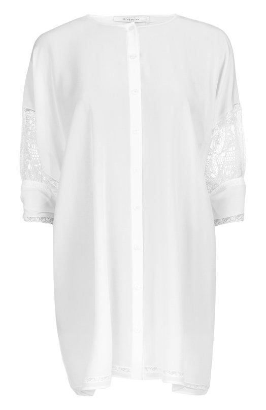 Удлиненная блуза с укороченным рукавом и кружевной вставкой Givenchy 16P/6040/300