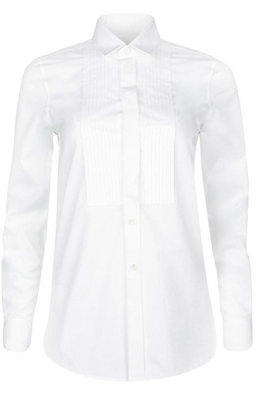 Блуза Saint LaurentБлузы<br>При создании приталенной рубашки мастера бренда, основанного Ивом Сен-Лораном, использовали тонкий белый хлопок. Модель с плиссированной манишкой вошла в весенне-летнюю коллекцию 2016 года. Советуем сочетать с черным смокингом и темными ботинками.<br><br>Российский размер RU: 44<br>Пол: Женский<br>Возраст: Взрослый<br>Размер производителя vendor: 38<br>Материал: Хлопок: 100%;<br>Цвет: Белый