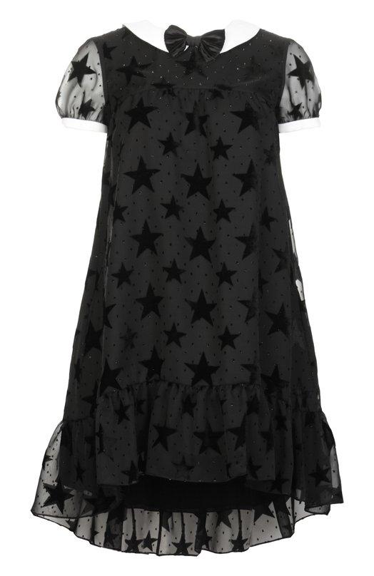 Платье Saint LaurentПлатья<br>Мастера бренда, основанного Ивом Сен-Лораном, произвели черное платье из полупрозрачной ткани, украшенной бархатистыми пятиконечными звездами. Модель с белыми манжетами и круглым воротником, удлиненная сзади, вошла в весенне-летнюю коллекцию 2016 года. Рекомендуем сочетать с черными замшевыми туфлями.<br><br>Российский размер RU: 50<br>Пол: Женский<br>Возраст: Взрослый<br>Размер производителя vendor: 46<br>Материал: Отделка-ацетат: 57%; Отделка-вискоза: 43%; Подкладка-шелк: 100%; Полиэстер: 100%;<br>Цвет: Черный