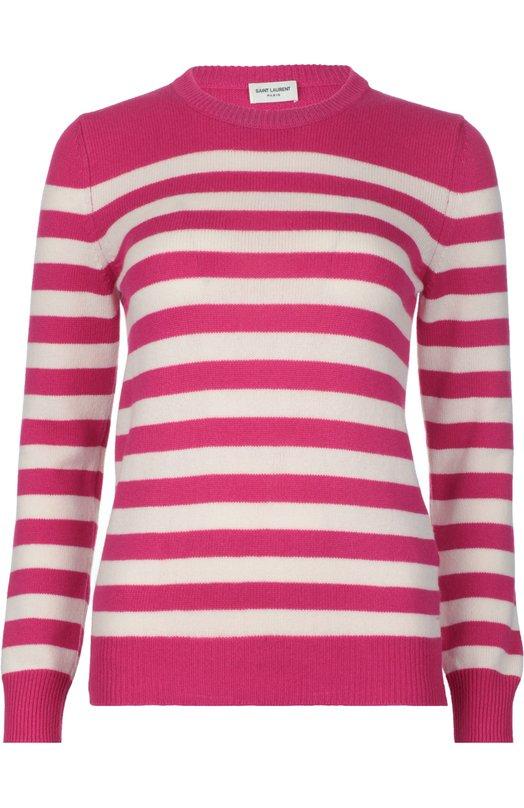 Пуловер вязаный Saint LaurentСвитеры<br>Розовый облегающий джемпер в белую полоску выполнен из тонкого кашемирового трикотажа. Модель с длинными рукавами и круглым вырезом вошла в весенне-летнюю коллекцию бренда, основанного Ивом Сен-Лораном. Нам нравится сочетать с черными джинсами, серыми ботинками и белой сумкой.<br><br>Российский размер RU: 42<br>Пол: Женский<br>Возраст: Взрослый<br>Размер производителя vendor: S<br>Материал: Кашемир: 100%;<br>Цвет: Розовый
