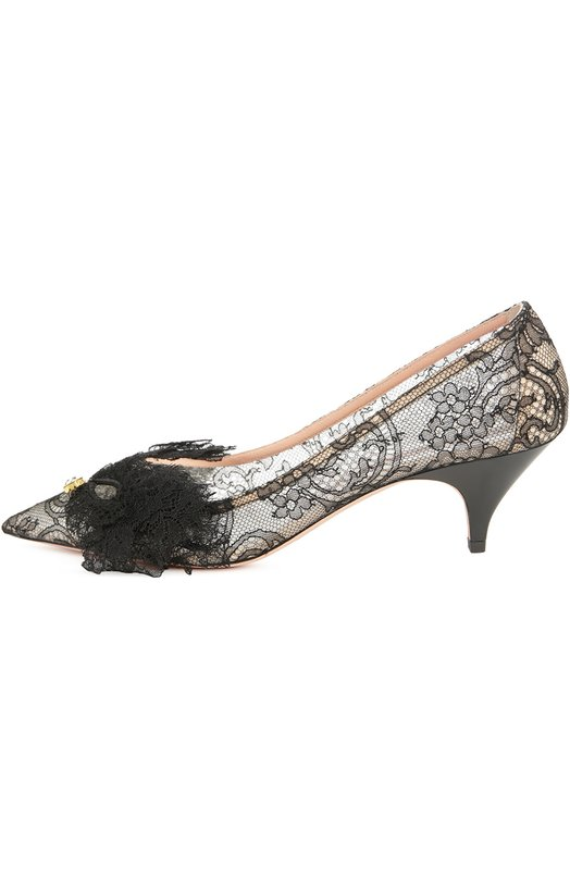 Кружевные туфли с аппликацией Rochas R026101/LACE/EYELASHES+CRYSTAL