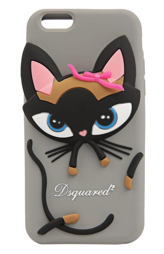 Чехол для iPhone 6/6S Dsquared2Чехлы для iPhone<br>В весенне-летнюю коллекцию 2016 года вошел чехол для Iphone 6 и 6s, плотно прилегающий к боковым кнопкам управления. Изделие из прочного и мягкого силикона серого цвета украшено объемным изображением кошки и логотипом бренда.<br><br>Пол: Женский<br>Возраст: Взрослый<br>Размер производителя vendor: NS<br>Материал: Силикон: 100%;<br>Цвет: Серый