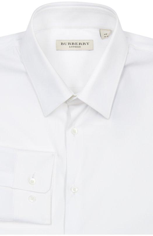 Сорочка BurberryРубашки<br>Рубашка с длинным рукавом и воротником кент вошла в осенне-зимнюю коллекцию бренда, основанного Томасом Берберри. Модель сшита из мягкого хлопка стрейч белого цвета. Попробуйте носить с серым пиджаком, темным галстуком, бежевыми брюками и черными дерби.<br><br>Российский размер RU: 44<br>Пол: Мужской<br>Возраст: Взрослый<br>Размер производителя vendor: 14-5<br>Материал: Хлопок: 78%; Эластан: 4%; Полиамид: 18%;<br>Цвет: Белый