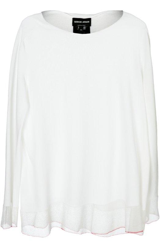 Блуза вязаная Giorgio ArmaniБлузы<br>Джорджио Армани включил в коллекцию сезона весна-лето 2016 года белую блузу свободного кроя, с длинными рукавами и овальным вырезом. Модель связана из тонкой хлопковой пряжи с добавлением гладкой шелковой нити.<br><br>Российский размер RU: 46<br>Пол: Женский<br>Возраст: Взрослый<br>Размер производителя vendor: 44<br>Материал: Хлопок: 70%; Шелк: 30%; Отделка-шелк: 100%;<br>Цвет: Белый