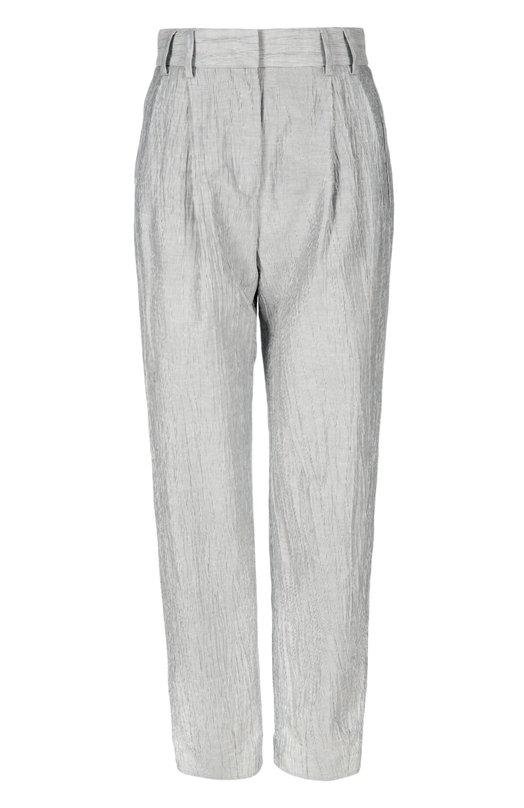 Укороченные брюки из льна и хлопка на завышенной талии Giorgio ArmaniБрюки<br>Мастера марки создали укороченные брюки с завышенной линией талии из прочной льняной ткани крэш с добавлением мягких хлопковых волокон. Модель в тонкую черно-белую полоску вошла в весенне-летнюю коллекцию бренда, основанного Джорджио Армани. Нам нравится сочетать с розовой блузой и светлыми кедами.<br><br>Российский размер RU: 46<br>Пол: Женский<br>Возраст: Взрослый<br>Размер производителя vendor: 44<br>Материал: Лен: 54%; Хлопок: 27%; Полиэстер: 19%;<br>Цвет: Серый