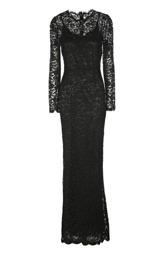 Платье вечернее Dolce &amp; GabbanaПлатья<br>Доменико Дольче и Стефано Габбана включили черное вечернее платье в весенне-летнюю коллекцию 2016 года. Модель с круглым вырезом и длинным рукавом изготовлена из тонкого сицилийского кружева. Изделие, дополненное мягкой шелковой подкладкой, застегивается сзади на крупные пуговицы из кристаллов.<br><br>Российский размер RU: 52<br>Пол: Женский<br>Возраст: Взрослый<br>Размер производителя vendor: 50<br>Материал: Шелк: 76%; Эластан: 4%; Полиамид: 4%; Хлопок: 16%; Вискоза: 15%;<br>Цвет: Черный