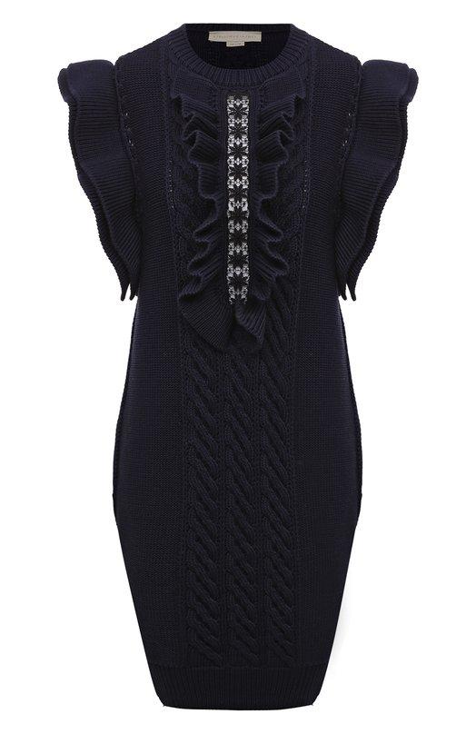 Платье вязаное Stella McCartneyПлатья<br>Стелла Маккартни включила синее вязаное платье без рукавов в весенне-летнюю коллекцию 2016 года. Облегающая модель, выполненная из мягкой хлопковой пряжи, украшена жабо и вставкой из вышитого кружева anglaise. Советуем сочетать с темной макси-юбкой, бежевым клатчем и черными сандалиями на платформе.<br><br>Российский размер RU: 44<br>Пол: Женский<br>Возраст: Взрослый<br>Размер производителя vendor: 42<br>Материал: Хлопок: 100%;<br>Цвет: Синий
