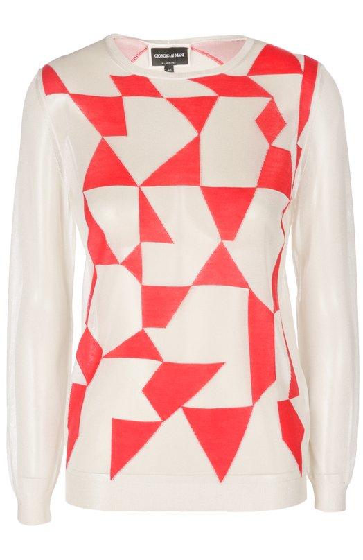 Вязаный полупрозрачный пуловер с контрастным принтом Giorgio Armani 3XAM05/AM42Z