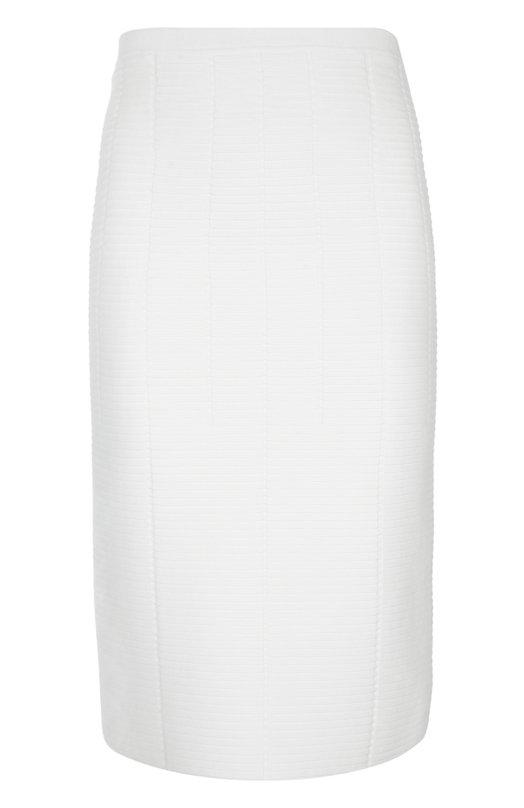 Юбка-карандаш до колена Giorgio ArmaniЮбки<br>Джорджио Армани включил в коллекцию сезона весна-лето 2016 года белую юбку-карандаш. Мастера марки выполнили модель из мягкой эластичной вискозы. Наши стилисты рекомендуют сочетать с темным топом, черными босоножками и коричневой сумкой.<br><br>Российский размер RU: 46<br>Пол: Женский<br>Возраст: Взрослый<br>Размер производителя vendor: 44<br>Материал: Вискоза: 83%; Полиэстер: 17%;<br>Цвет: Белый