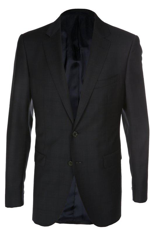 Шерстяной приталенный костюм в клетку LanvinКостюмы<br>Мастера бренда, основанного Жанной Ланван, выполнили темно-синий костюм из тонкой шерсти с едва заметным клетчатым рисунком. Приталенный однобортный пиджак с остроконечными лацканами и тремя карманами дополнен зауженными брюками.<br><br>Российский размер RU: 56<br>Пол: Мужской<br>Возраст: Взрослый<br>Размер производителя vendor: 54-R<br>Материал: Шерсть: 100%; Подкладка-вискоза: 100%;<br>Цвет: Темно-синий