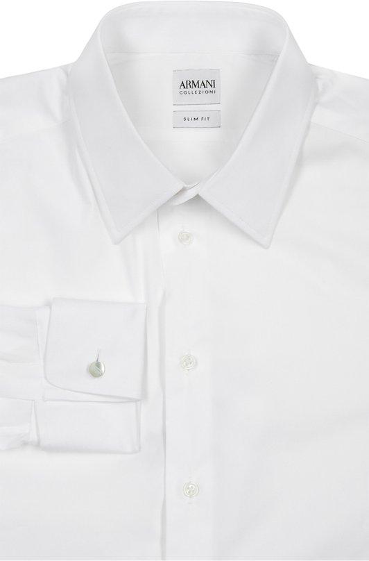 Сорочка Armani CollezioniРубашки<br>В коллекцию сезона весна-лето 2016 года вошла белая рубашка с воротником кент и длинными рукавами. Мастера марки, основанной Джорджио Армани, создали модель силуэта slim fit из эластичного поплина. Советуем носить с темным костюмом, полосатым галстуком и черными оксфордами.<br><br>Российский размер RU: 54<br>Пол: Мужской<br>Возраст: Взрослый<br>Размер производителя vendor: 43<br>Материал: Хлопок: 76%; Эластан: 3%; Полиамид: 21%;<br>Цвет: Белый