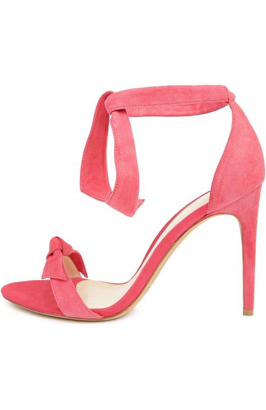 Замшевые босоножки Clarita на шпильке Alexandre BirmanБосоножки<br>Александр Бирман включил модель Clarita в коллекцию сезона весна-лето 2016 года. Для изготовления босоножек на высоком тонком каблуке использована бархатистая замша розового цвета. Обувь, дополненная декоративным узлом, фиксируется на щиколотке длинными лентами.<br><br>Российский размер RU: 36<br>Пол: Женский<br>Возраст: Взрослый<br>Размер производителя vendor: 36<br>Материал: Стелька-кожа: 100%; Подошва-кожа: 100%; Замша натуральная: 100%;<br>Цвет: Розовый