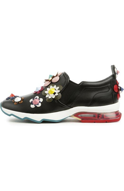 Кожаные кроссовки с аппликациями Fendi 8E6006/6VG