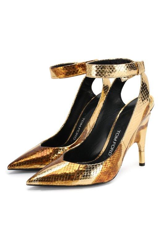 Туфли из металлизированной кожи с ремешком Tom Ford W1817T/APH