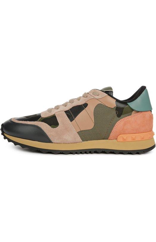Комбинированные кроссовки Camouflage с принтом Valentino KW0S0291/TCC