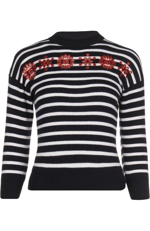 Шерстяной свитер в полоску с контрастной отделкой Alexander McQueen 417447/Q1AJB