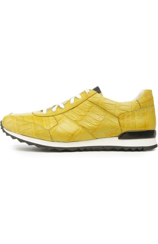 Кроссовки KitonКеды<br>Диего Дольчини обновил дизайн кроссовок Driver, использовав желтую кожу крокодила. Модель с контрастной белой шнуровкой, дополненная двухцветной подошвой с протектором, вошла в коллекцию сезона весна-лето 2016 года.<br><br>Российский размер RU: 40<br>Пол: Мужской<br>Возраст: Взрослый<br>Размер производителя vendor: 6-5<br>Материал: Стелька-кожа: 100%; Подошва-резина: 100%; Кожа/крокодил/: 100%;<br>Цвет: Желтый