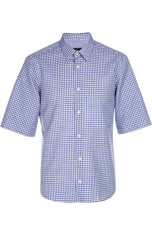 Рубашка Z ZegnaРубашки<br>Синяя клетчатая рубашка с короткими рукавами и воротником кент выполнена из тонкой хлопково-льняной ткани. Модель вошла в весенне-летнюю коллекцию бренда, основанного Эрменеджильдо Зенья. Рекомендуем сочетать с белыми шортами и темными лоферами.<br><br>Российский размер RU: 48<br>Пол: Мужской<br>Возраст: Взрослый<br>Размер производителя vendor: 38<br>Материал: Хлопок: 65%; Лен: 35%;<br>Цвет: Синий