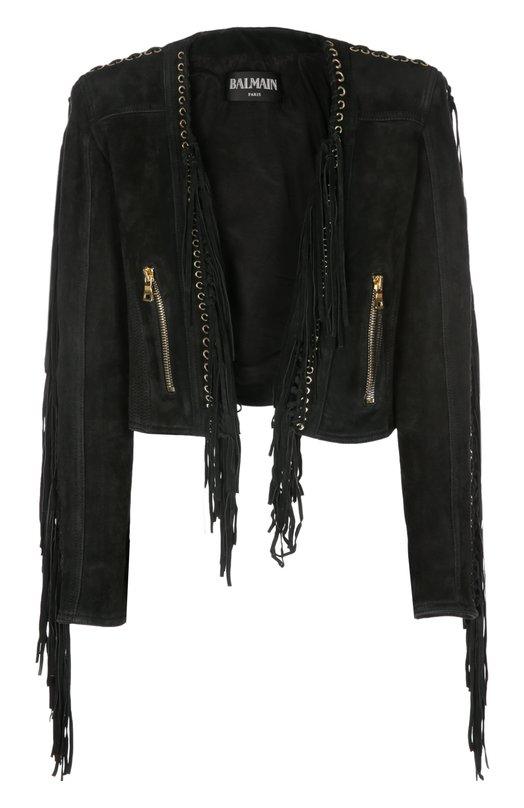 Куртка замшевая BalmainКуртки<br>Короткая куртка с двумя боковыми карманами на молниях, выполненная из фактурной черной замши, украшена позолоченными люверсами с длинной бахромой. Модель вошла в весенне-летнюю коллекцию бренда, основанного Пьером Бальманом.<br><br>Российский размер RU: 42<br>Пол: Женский<br>Возраст: Взрослый<br>Размер производителя vendor: 40<br>Материал: Подкладка-вискоза: 52%; Подкладка-хлопок: 48%; Замша натуральная: 100%;<br>Цвет: Черный