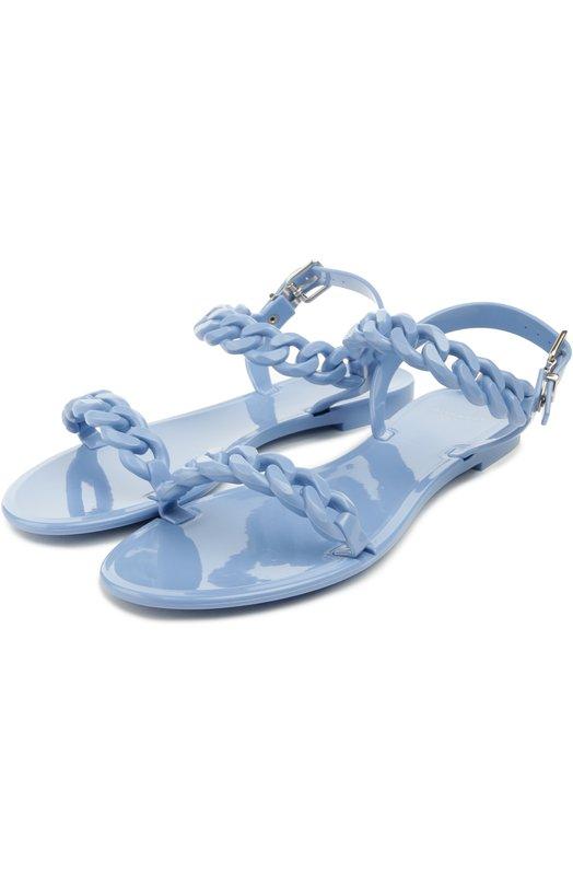 Резиновые сандалии с плетеными ремешками GivenchyСандалии<br>Голубые сандалии из мягкой резины вошли в весенне-летнюю коллекцию бренда, основанного Юбером де Живанши. Модель с ремешками, выполненными в форме цепей, застегивается с помощью металлических пряжек.<br><br>Российский размер RU: 40<br>Пол: Женский<br>Возраст: Взрослый<br>Размер производителя vendor: 40<br>Материал: Подошва-резина: 100%; Резина: 100%; Стелька-резина: 100%;<br>Цвет: Голубой
