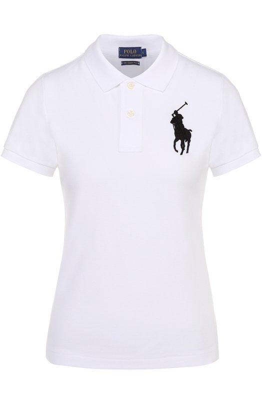 Поло с вышитым логотипом бренда Polo Ralph LaurenПоло<br>В коллекцию сезона осень-зима 2016 года вошло поло с короткими рукавами и отложным воротником. Модель прямого кроя, с небольшими боковыми разрезами сшита из мягкого хлопка пике. На груди вышита черная эмблема бренда, основанного Ральфом Лореном.<br><br>Российский размер RU: 42<br>Пол: Женский<br>Возраст: Взрослый<br>Размер производителя vendor: S<br>Материал: Хлопок: 100%;<br>Цвет: Белый
