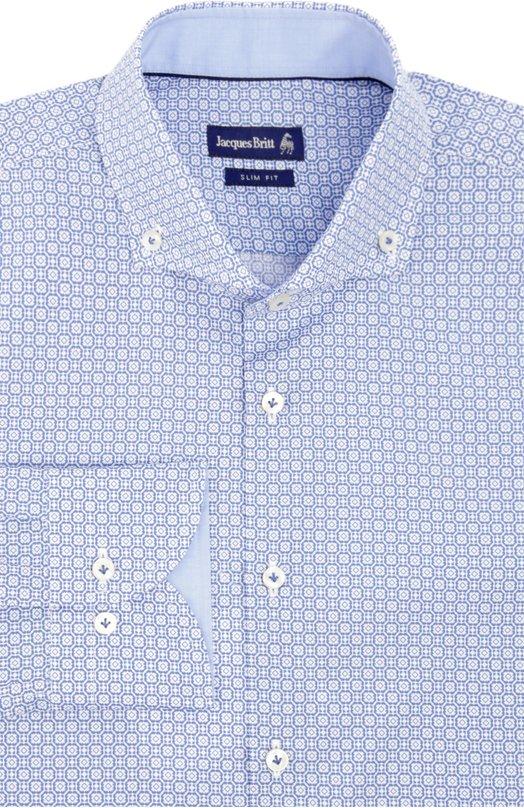 Сорочка Jacques BrittРубашки<br>В весенне-летнюю коллекцию бренда, основанного Жаком Бриттом, вошла синяя рубашка из мягкого хлопкового поплина с контрастным геометрическим микро-принтом. Модель slim fit дополнена воротником button down.<br><br>Российский размер RU: 54<br>Пол: Мужской<br>Возраст: Взрослый<br>Размер производителя vendor: 43<br>Материал: Хлопок: 100%;<br>Цвет: Синий