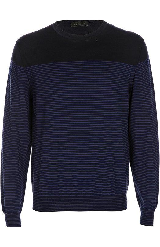 Вязаный пуловер Z ZegnaСвитеры<br>Мастера бренда, основанного Эрменеджильдо Зенья, изготовили пуловер из мягкой хлопковой пряжи. Модель в темно-синюю полоску, с однотонными плечами вошла в весенне-летнюю коллекцию 2016 года. Советуем носить с кожаной курткой в тон, светлыми брюками и кроссовками.<br><br>Российский размер RU: 50<br>Пол: Мужской<br>Возраст: Взрослый<br>Размер производителя vendor: L<br>Материал: Хлопок: 100%;<br>Цвет: Темно-синий