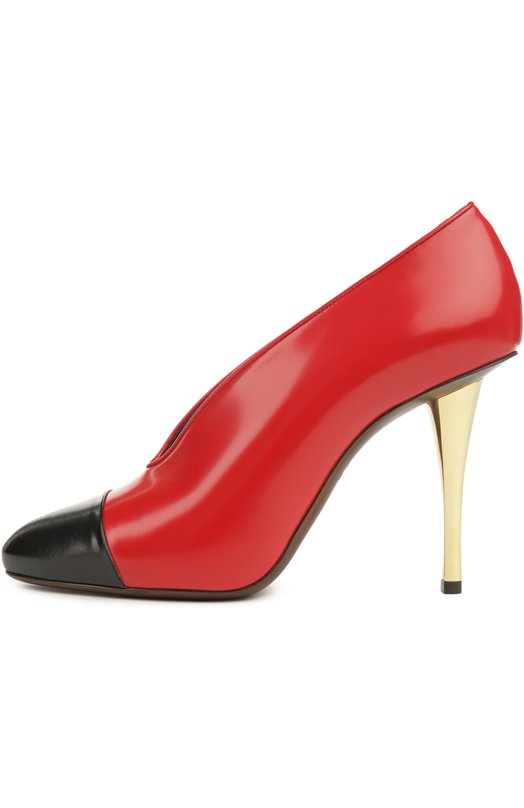 Кожаные туфли на шпильке LanvinТуфли<br>Двухцветные закрытые туфли вошли в весенне-летнюю коллекцию марки, основанной Жанной Ланван. Модель сшита из матовой кожи двух цветов: черного и красного. Обувь дополнена высоким металлическим каблуком.<br><br>Российский размер RU: 39<br>Пол: Женский<br>Возраст: Взрослый<br>Размер производителя vendor: 39<br>Материал: Кожа натуральная: 100%; Стелька-кожа: 100%; Подошва-кожа: 100%;<br>Цвет: Красный