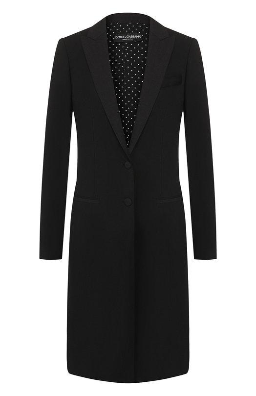 Шерстяное приталенное пальто Dolce &amp; GabbanaПальто и плащи<br>Черное приталенное пальто с отложным воротником и широкими лацканами вошло в весенне-летнюю коллекцию бренда, основанного Доменико Дольче и Стефано Габбана. Удлиненная модель с двумя боковыми карманами выполнена из тонкого шерстяного крепа.<br><br>Российский размер RU: 52<br>Пол: Женский<br>Возраст: Взрослый<br>Размер производителя vendor: 50<br>Материал: Шерсть: 97%; Подкладка-полиэстер: 97%; Подошва-эластан: 3%; Эластан: 3%;<br>Цвет: Черный