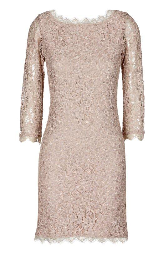 Кружевное платье на молнии с V-образным вырезом сзади Diane Von FurstenbergПлатья<br>В весенне-летнюю коллекцию бренда, основанного Дианой фон Фюстенберг, вошло платье-футляр с глубоким V-образным вырезом сзади. Модель с рукавами 3/4, застегивающаяся на двустороннюю молнию, выполнена из полупрозрачного бежевого кружева с цветочным мотивом.<br><br>Российский размер RU: 40<br>Пол: Женский<br>Возраст: Взрослый<br>Размер производителя vendor: 6<br>Материал: Подкладка-вискоза: 88%; Вискоза: 70%; Нейлон: 30%; Подкладка-шелк: 12%;<br>Цвет: Бежевый
