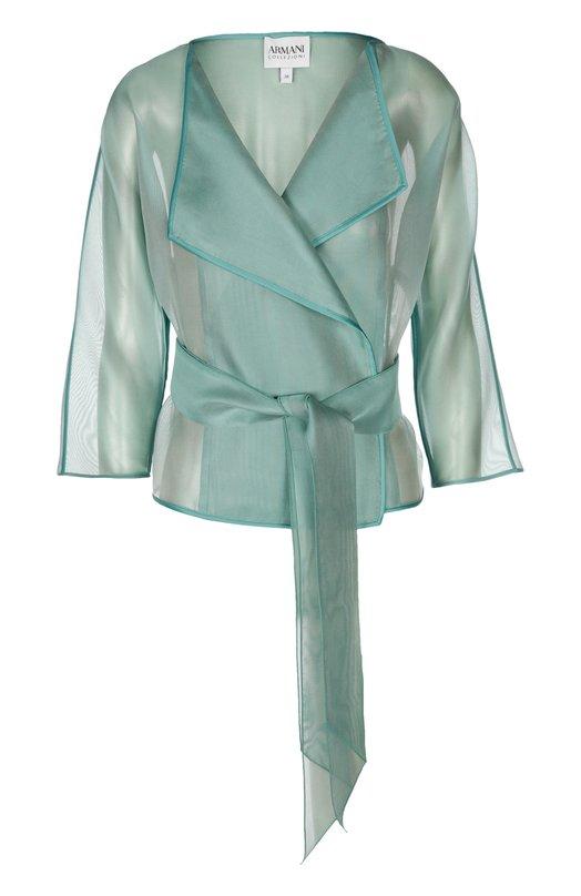 Шелковый прозрачный жакет-кимоно Armani CollezioniЖакеты<br>В весенне-летнюю коллекцию бренда, основанного Джорджио Армани, вошел жакет с рукавами 3/4, фиксирующийся широким длинным поясом. Модель сшита  из тонкого светло-зеленого шелка. Попробуйте сочетать с топом в тон, серыми шортами и сандалиями белого цвета.<br><br>Российский размер RU: 44<br>Пол: Женский<br>Возраст: Взрослый<br>Размер производителя vendor: 42<br>Материал: Отделка-шелк: 80%; Отделка-полиэстер: 20%; Шелк: 100%;<br>Цвет: Светло-зеленый
