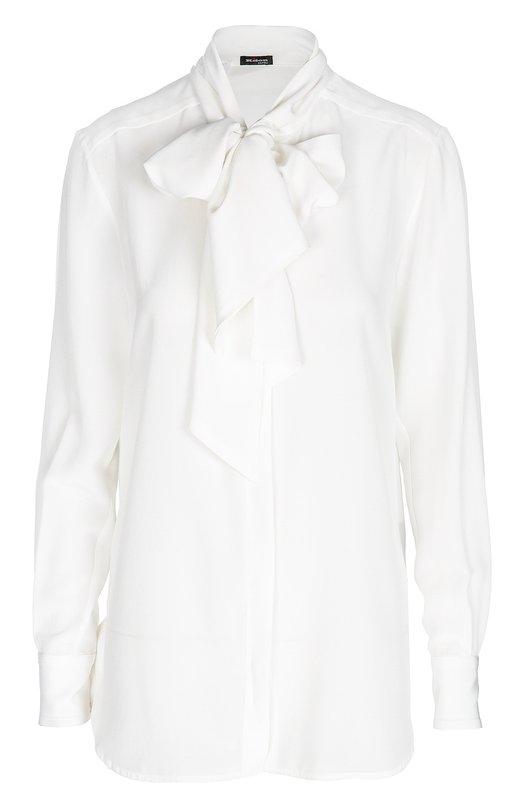 Шелковая блуза прямого кроя с бантом Kiton D38455/8B11