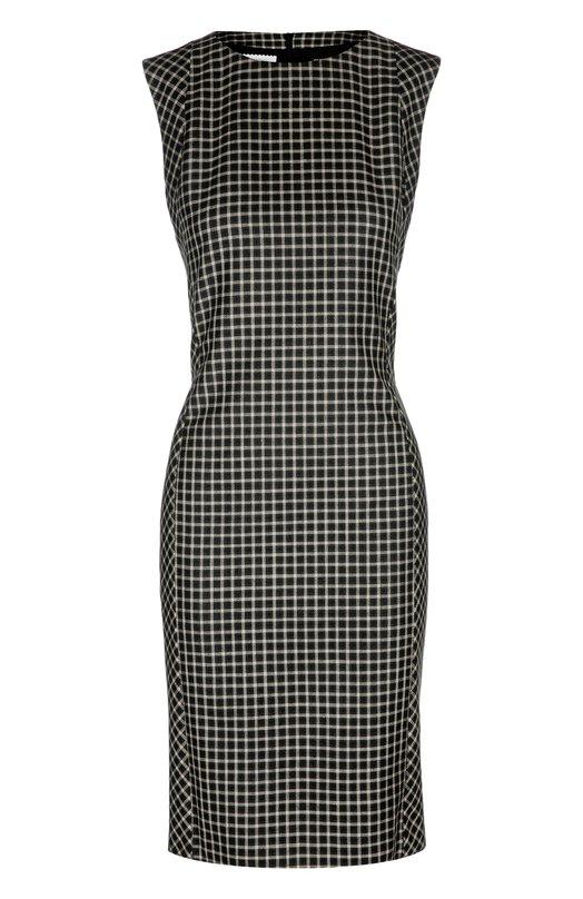 Шелковое платье-футляр в клетку с вырезом лодочка KitonПлатья<br>Черно-белое платье-футляр в клетку выполнено из мягкого шелка с добавлением тонкой шерсти. Изделие без рукавов вошло в коллекцию сезона весна-лето 2016 года. Наши стилисты рекомендуют носить с темными сандалиями.<br><br>Российский размер RU: 52<br>Пол: Женский<br>Возраст: Взрослый<br>Размер производителя vendor: 50<br>Материал: Шелк: 80%; Шерсть: 20%;<br>Цвет: Черно-белый