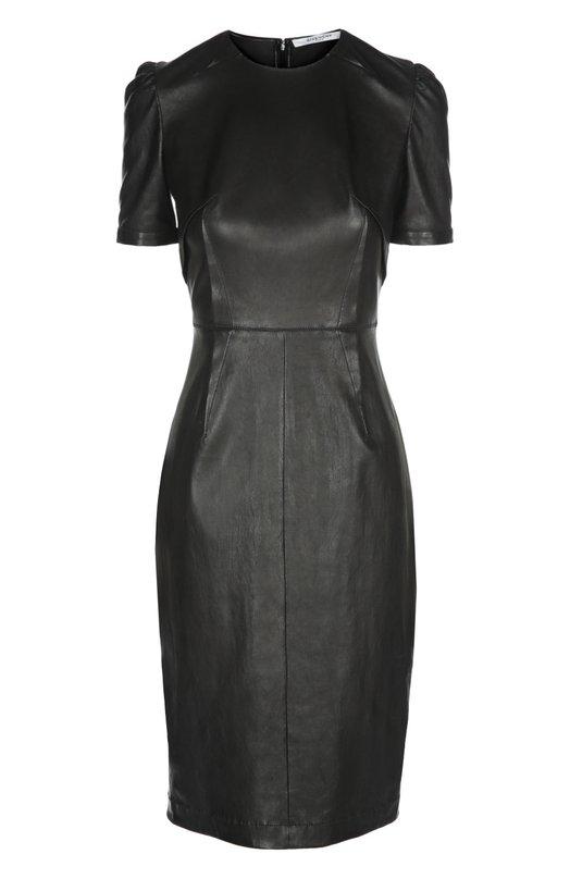 Приталенное кожаное платье с декоративными складками Givenchy 16P/2601/653