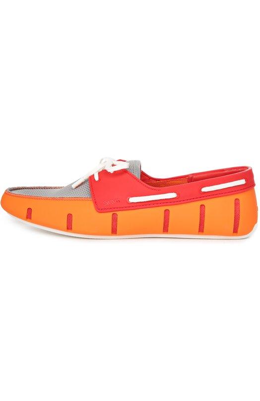 Непромокаемые топсайдеры Sport Low SwimsТопсайдеры<br>В коллекцию сезона весна-лето 2016 года вошли непромокаемые топсайдеры Sport Low на рифленой подошве с антискользящим покрытием. Обувь изготовлена из мягкой резины, союзка – из мембранной ткани серого цвета. Модель фиксируется на ноге шнурком.<br><br>Российский размер RU: 40<br>Пол: Мужской<br>Возраст: Взрослый<br>Размер производителя vendor: 40<br>Цвет: Красный