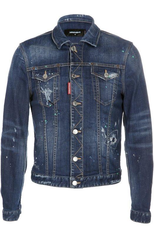 Джинсовая куртка с потертостями Dsquared2 S74AM0596/S30342