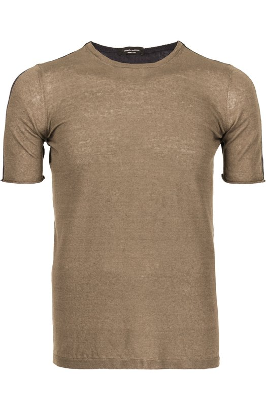 Двухцветная футболка Roberto CollinaФутболки<br>Футболка с круглым вырезом произведена из мягкого тонкого льна двух цветов: черного и бежевого. Модель с коротким рукавом вошла в весенне-летнюю коллекцию бренда, основанного Роберто Коллина. Рекомендуем сочетать с темной стеганой курткой, черными брюками и слипонами бежевого цвета.<br><br>Российский размер RU: 56<br>Пол: Мужской<br>Возраст: Взрослый<br>Размер производителя vendor: 54<br>Материал: Лен: 88%; Полиамид: 12%;<br>Цвет: Песочный