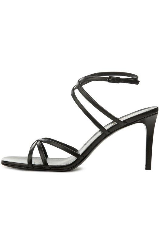 Кожаные босоножки Kate на шпильке Saint LaurentБосоножки<br>Босоножки из весенне-летней коллекции бренда, основанного Ивом Сен-Лораном, выполнены из мягкой матовой кожи черного цвета. Модель дополняет каблук средней высоты. Тонкие перекрещивающиеся ремни с металлической пряжкой фиксируют обувь на щиколотке.<br><br>Российский размер RU: 36<br>Пол: Женский<br>Возраст: Взрослый<br>Размер производителя vendor: 36-5<br>Материал: Кожа натуральная: 100%; Стелька-кожа: 100%; Подошва-кожа: 100%;<br>Цвет: Черный