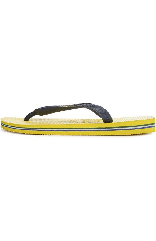 Шлепанцы из резины HavaianasШлепанцы<br>Название модели Brasil Logo дала резиновая аппликация в виде флага Бразилии, которой украшены синие ремешки. Шлепанцы на желтой резиновой подошве с тонкими разноцветными полосами вошли в весенне-летнюю коллекцию 2016 года.<br><br>Российский размер RU: 42<br>Пол: Женский<br>Возраст: Взрослый<br>Размер производителя vendor: 41/42<br>Материал: Резина: 100%; Подошва-резина: 100%; Стелька-полиуретан: 100%;<br>Цвет: Желтый