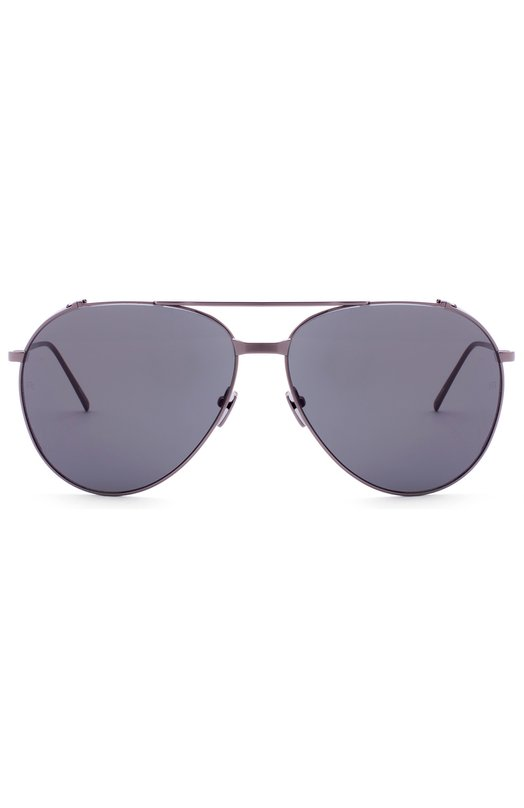 Солнцезащитные очки Linda FarrowОчки<br>Солнцезащитные очки с двойным мостом и серыми зеркальными линзами изготовлены из ультратонкого и легкого металла цвета Dark Nickel. На внутреннюю сторону дужек нанесен логотип бренда, основанного Линдой Фэрроу.<br><br>Пол: Женский<br>Возраст: Взрослый<br>Размер производителя vendor: NS<br>Цвет: Серый