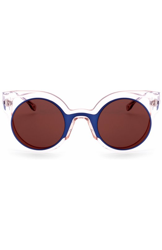 Солнцезащитные очки FendiОчки<br>Солнцезащитные очки Eyeshine дополнены зеркальными стеклами коричневого цвета. Для изготовления оправы круглой формы использована комбинация прочного прозрачного пластика и легкого синего металла. Тонкие изогнутые дужки декорированы выгравированным логотипом бренда, основанного супругами Фенди.<br><br>Пол: Женский<br>Возраст: Взрослый<br>Размер производителя vendor: NS<br>Цвет: Бесцветный