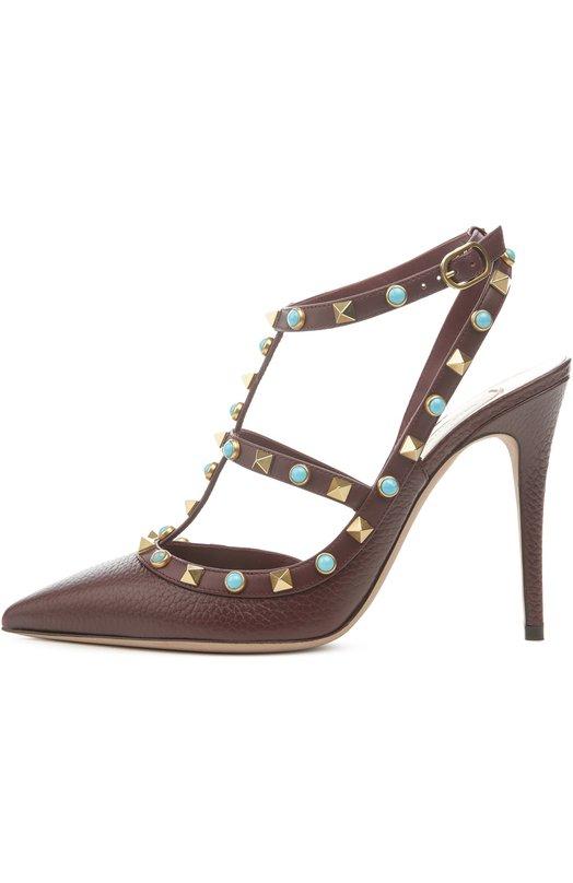 Кожаные туфли Rockstud Rolling на шпильке ValentinoТуфли<br>Туфли бордового цвета декорированы круглыми заклепками из бирюзы и металлическими шипами-пирамидами. Мастера марки, основанной Валентино Гаравани, сшили модель Rockstud Rolling из матовой зернистой кожи. Обувь с зауженным мысом вошла в весенне-летнюю коллекцию 2016 года.<br><br>Российский размер RU: 36<br>Пол: Женский<br>Возраст: Взрослый<br>Размер производителя vendor: 36-5<br>Материал: Кожа натуральная: 100%; Стелька-кожа: 100%; Подошва-кожа: 100%;<br>Цвет: Бордовый